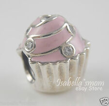 SWEET CUPCAKE Genuine PANDORA Silver/Light PINK ENAMEL/Clear CZ Charm/Bead NEW