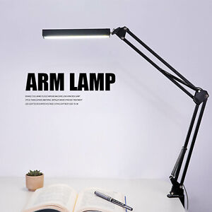 Adjustable LED Desk Lamp with Clamp , Metal Swing Arm Dimmable Drafting Lamp ~