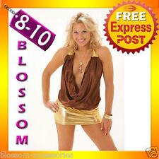 2055 Dance Club Wear Party Halter Brown Dress 8 10 S M