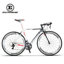 Road Bike 700C Carbon Fiber Frame 18 Speed Cycling Road Racing Bicycle 50cmWhite