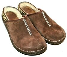 UGGs Australia Cocoa Brown Suede Sheepskin Lined Slip on Clogs Womens size 6