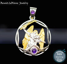 STERLING SILVER 925 ARCHANGEL MICHAEL GOLD PLATED w/ 2 AMETHYST PENDANT JEWELRY