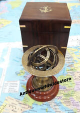 New Nautical Brass Armillary Collectible Globe Nautical With Wooden Box
