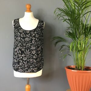 Vintage 80s 90s Black Silver Heavily Beaded Sparkly Sleeveless Vest Party Top 12