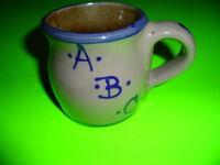 BBP BEAUMONT BROTHERS POTTERY CHILD'S MUG / CUP SALT GLAZE ABC 123 BLUE TAN