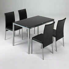 conjunto mesa + 4 sillas LUX negro