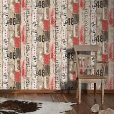 SURF BEACH HUT WOOD PANEL WALLPAPER ROLLS RED - AS CREATION 959501 NEW