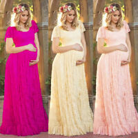 Pregnant Women Lace Floral Long Maxi Dress Party Maternity Gown Photography Prop