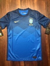 New Nike Youth Brazil Brasil Dry Soccer Jersey Size XL Blue Navy