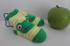 Mud Pie Infant Baby FROGS on Green, Yellow & White Striped SOCKS fits 0-12 Month