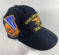 """Vtg US Navy Blue Angels """"Cats Night Out"""" Special Warfare Seal Team Patches Hat"""