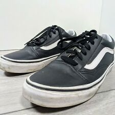 Womens black leather classic Vans Size 5 white stripe