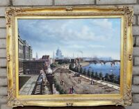 Original Joseph Fishman Oil Painting Canvas Victorian Cityscape Gilt Gold Frame
