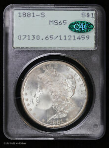 1881 S Morgan Silver Dollar PCGS MS 65 CAC | Uncirculated BU Old Rattler Holder