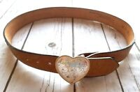 Nocona Belt Co. Leather Womens Heart Silver Buckle USA Size 30