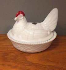 Vintage Westmoreland Milk Glass Hen Chicken on Nest
