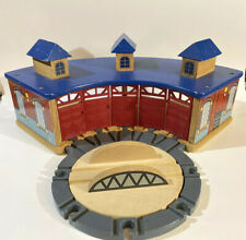 Vintage Thomas The Train Imaginarium Brio Wooden Roundhouse Shed and Turntable