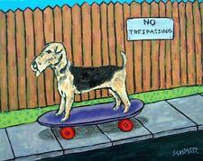 Airedale terrier dog art poster Print gift Jschmetz modern folk skateboard 13x19