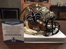Drew Brees Signed New Orleans Saints Chrome Mini Helmet Witness Beckett & GTSM
