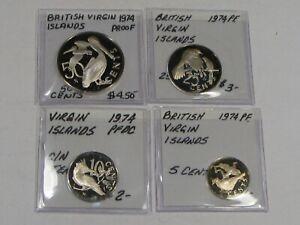 Set of 4 1974 PROOF British Virgin Islands Coins: 50 Cent, 25 C, 10 C, 5 C.  #45