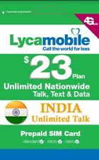 Lycamobile SIM card $23 Plan Prepaid Unlimited Call & Text 1GB 4G LTE Data-New