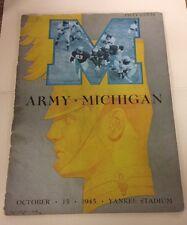 1945 ARMY * MICHIGAN FOOTBALL PROGRAM AT YANKEE STADIUM
