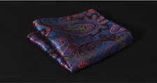 Silk Blue Pocket Square Purple & Pink Floral Handmade Handkerchief