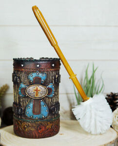 Country Rustic Western Blue Cross W/ Concho Toilet Brush and Sanitary Holder Set