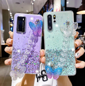 Bling Glitter Sparkle Butterfly Case w/ Strap For iPhone 12 11 Pro Max XS XR 7 8
