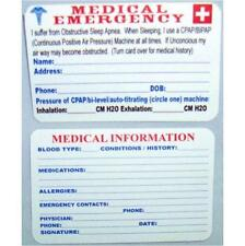 SLEEP APNEA MEDICAL EMERGENCY CARD  FOR CPAP/BIPAP/APNEA USERS**