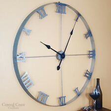 "HUGE!36"" Wine Barrel Steel Hoop Clock Large Wall Rustic Furniture Decor Handmade"