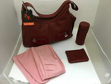 Petit Planet Leather Hobo Maternity/Changing Bag - Red (B01486)