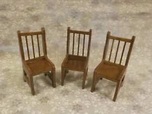 Three Wooden Dollhouse Miniature Chairs - 1:12  - Pre-owned