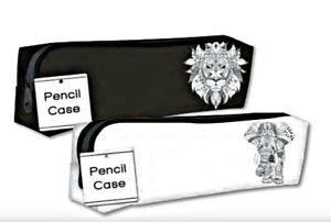 PENCIL CASE WHITE PVC waterproof girls boys school stationery uni zip