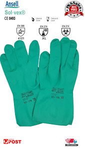 Chemical Resistant GLOVES ANSELL Solvex 37-175  Nitrile Industrial Work Size10