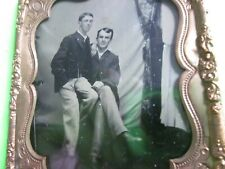 1/6 Tintype of 2 Gay Men holding Each Other on Chair in Mat, Frame & Glass