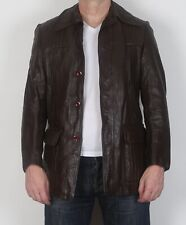 "Leather Fitted Jacket XS 36"" Brown 70's  (HBN)"
