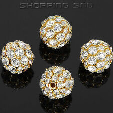 50pcs 18mm Crystal Round Spacer Beads Charm Hollow Rondelle Pave Shamballa Ball