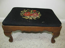 NEEDLEPOINT STOOL WITH WOODEN FRAME AND LEGS