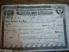 1920 Receipt For Dues Ioof Independent Order Of Odd Fellows Rga Smith Ohio #157