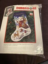 "Dimensions 9097 Animal Friends & Santa Needlepoint 16"" Stocking Kit 1995 Started"
