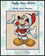 """Counted Cross Stitch MICKEY MOUSE """"Merry Christmas"""" - COMPLETE KIT #10-22 KIT"""