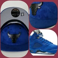 New Era Suede Chicago Bulls Black Metal snapback hat Jordan 5 Royal Blue Suede