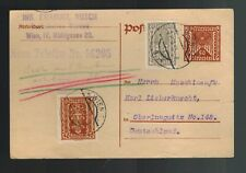 1922 Wien Vienna Austria to Oberlungwitz Germany Inflation Postcard Cover