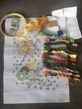 Christmas Stocking~Needlepoint Canvas~Rosalie~Rare Angel Pattern With Thread Etc