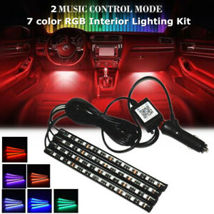 4x 12 LED Car Interior Atmosphere RGB Phone App 2 Music Control Mode Strip Light