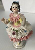 Vintage German DRESDEN Lace Dancer Girl Porcelain Volkstedt Mark Figurine