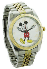 New Disney Mickey Mouse Men's 'Moving Hands' Two Tone Bracelet Watch