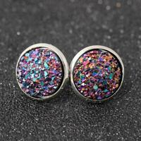 NEW Round Blue Druzy Geode Crystal Stud Earrings Post E2Q0 GORGEOUS Sell P0M0