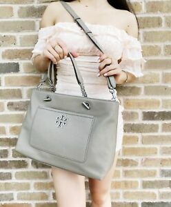 Tory Burch Britten Leather Large Satchel Tote Crossbody French Grey